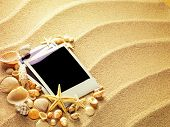 picture of beach shell art  - Old style empty photo cards lying on a sea sand and framed with shells - JPG