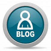 picture of blog icon  - blog blue glossy web icon