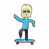 picture of older men  - cartoon older man on skateboard - JPG