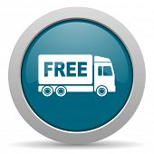 foto of free-trade  - free delivery blue glossy web icon