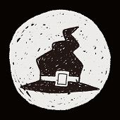 foto of witch  - Witch Hat Doodle - JPG