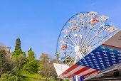 stock photo of ferris-wheel  - Symbols of the USA flag and Ferris wheel - JPG