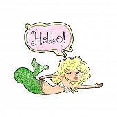 picture of mermaid  - cartoon mermaid saying hello - JPG