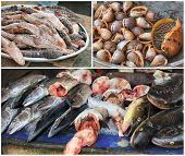 picture of stall  - Traditional asian fish market stall full of fresh seafood - JPG
