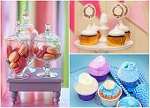 image of buffet  - Delicious sweet buffet with cupcakes and macarons - JPG