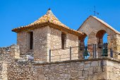 image of yellow castle  - Medieval stone castle in Calafell town Spain - JPG