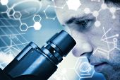 image of scientific research  - Science graphic against close up of a scientific researcher using microscope - JPG
