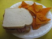 image of doritos  - this is a picture of a ham sandwich and doritos - JPG