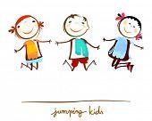 stock photo of animated cartoon  - happy kids jumping - JPG