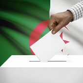 picture of algeria  - Ballot box with flag on background  - JPG