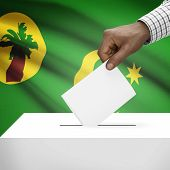 picture of coco  - Ballot box with flag on background  - JPG