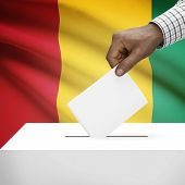 pic of guinea  - Ballot box with flag on background  - JPG