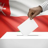foto of oman  - Ballot box with flag on background  - JPG