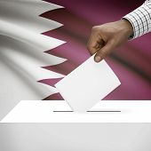 picture of qatar  - Ballot box with flag on background  - JPG