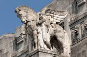 stock photo of winged-horse  - Stone facade of the Milan - JPG