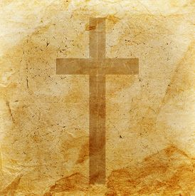 image of christianity  - Christian cross on a abstract grunge background - JPG