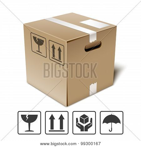 Cardboard Box Icon With Fragile Signs, Vector