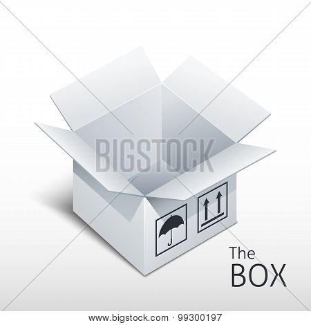 Opened Gray Box Icon With Shadow, Vector Illustration