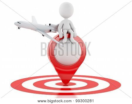 3D White People Tourist With Map Pointer In Red Target.