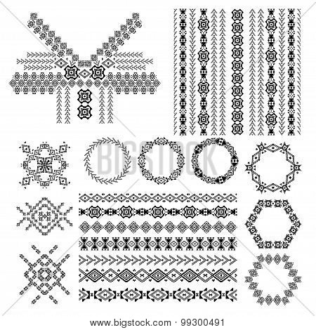 Vector Set Of Decorative Elements For Fashion In Ethnic Style