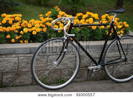 Vintage bike over flowerbed with yellow flowers