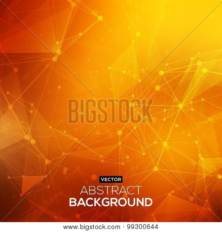 Abstract polygonal orange red low poly background with connecting dots and lines. Connection structu
