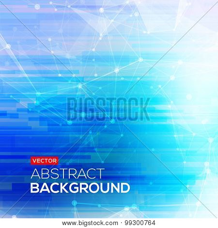 Abstract polygonal blue low poly bright background with connecting dots and lines. Connection struct