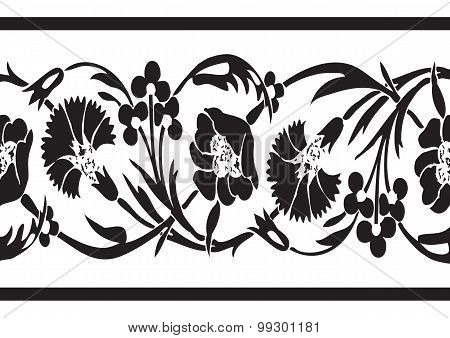 Black And White Vintage Wildflowers Border Floral Background Seamless Vector Horizontal Illustration