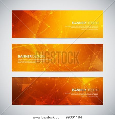 Vector banners set with polygonal abstract shapes, with circles, lines, triangles. Abstract polygona