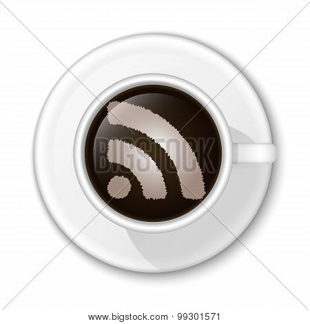 Coffee Rss Icon. Vector