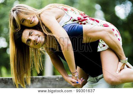 Happy Couple In Love Having Fun Outdoors