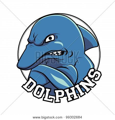 Dolphin logo mascot head with a title dolphins