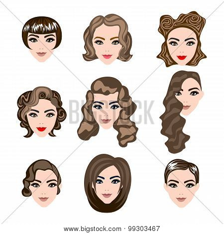 Woman , Man Hair, Vector Hairstyle Silhouette