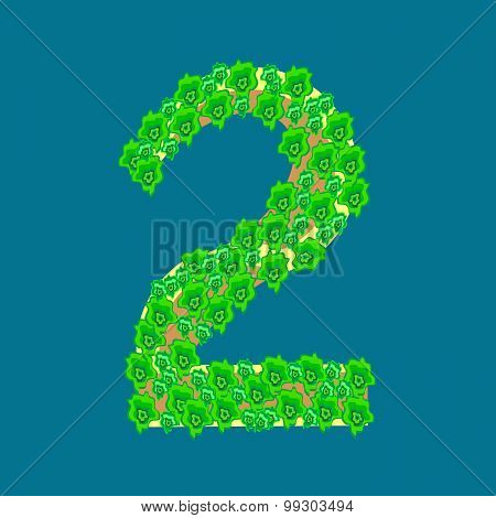 Numeral Two 2 Tropical Island