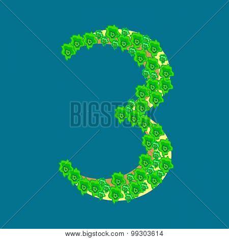 Figure Number Three 3 Tropical Island