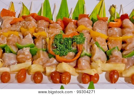 Raw Kebab, Raw Barbecue In White Plate