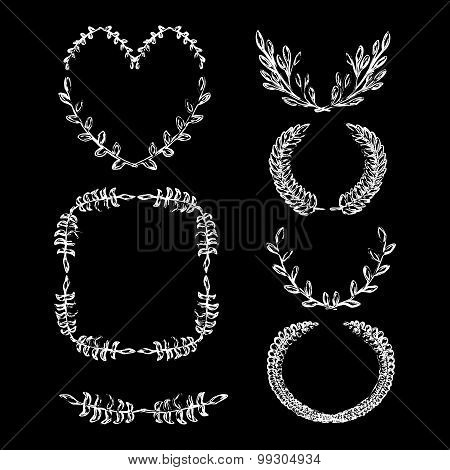 Hand drawn laurel wreath vector Chalk drawn laurel leaves frame Decorative vintage frame