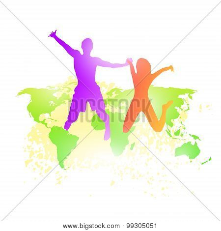 Couple Man And Woman Holding Hands Jump Silhouette