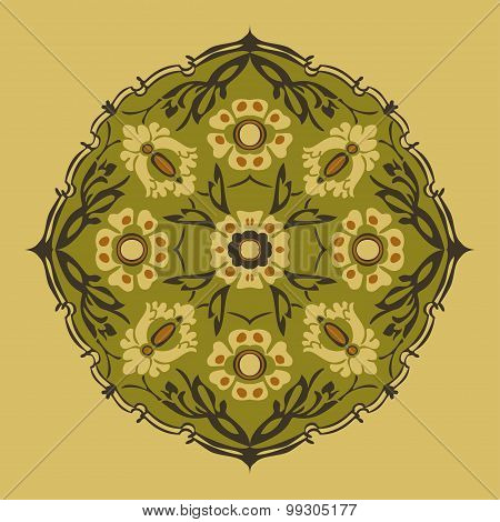 Black And White Round Flower Abstract Isolated
