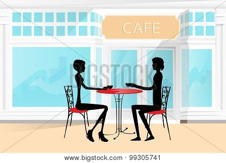 Couple Sitting Cafe Table Drink Coffee Romantic Love Silhouettes Dating