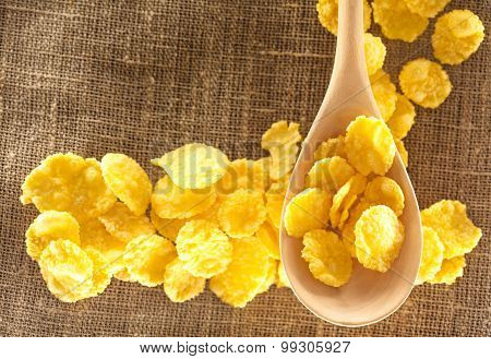 Wooden Spoon And Corn Flakes