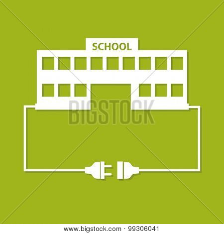 Abstract background with wire plug, socket and school building. Flat design.