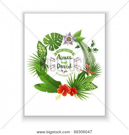 Save the date card with tropical wreath on white background