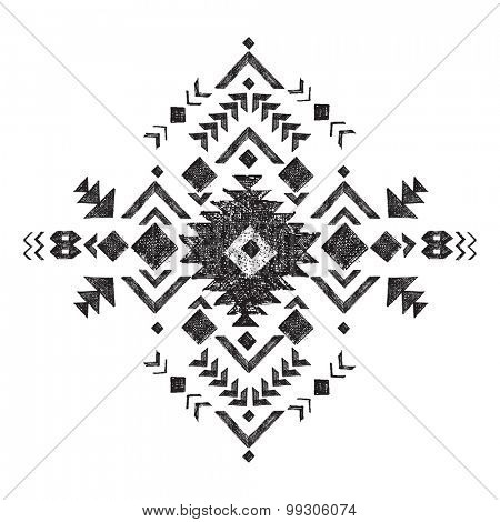 hand drawn black and white tribal design element