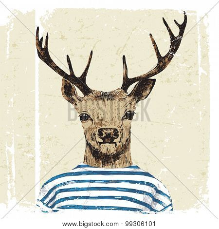 Hand drawn dressed up deer in hipster style