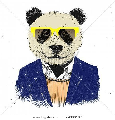 Hand drawn dressed up hipster panda in glasses