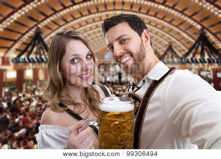 Couple in traditional bavarian costume in Germany