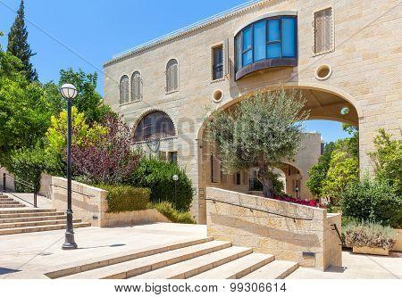 Street view and modern residential complex in Kfar David neighbourhood in Jerusalem, Israel.