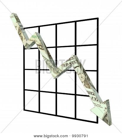 graph dollar down rendered illustration