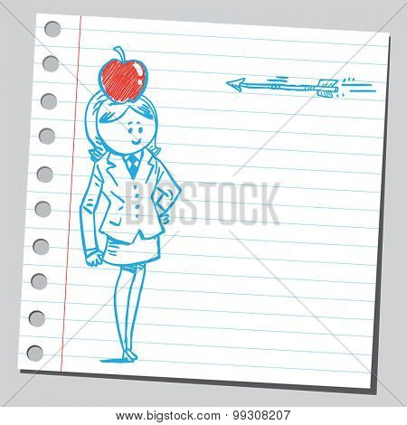 Businesswoman, apple and arrow